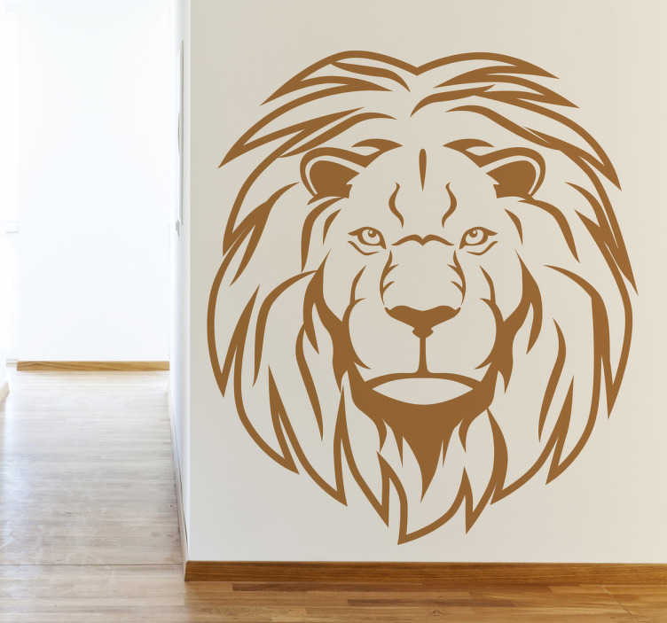 TenStickers. African Lion Head Portrait Wall Sticker. Wall Stickers - Decals - Striking portrait illustration of a fierce african lion, the king of the jungle.