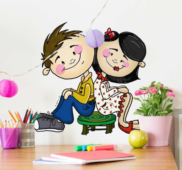 Adhesivo decorativo pareja sentada