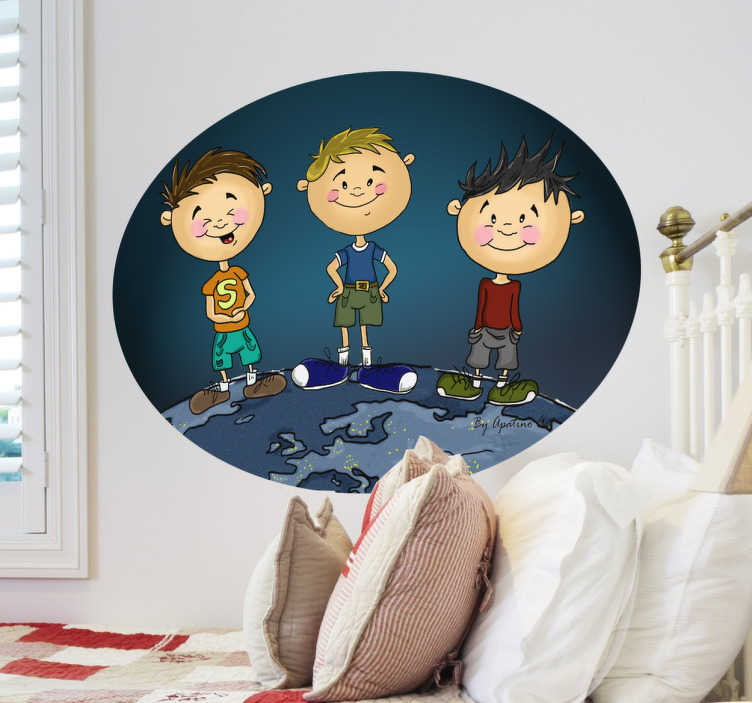 TenStickers. Three Young Kids Sticker. A oval wall sticker illustrating three young kids posing for a picture. Superb kids decal to give their space a new look and a fresh atmosphere.