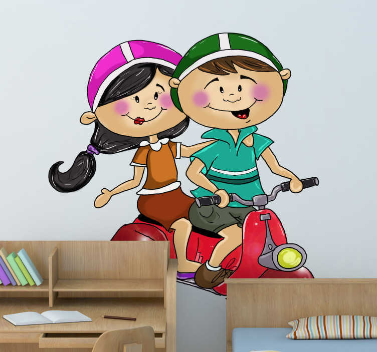 TenStickers. Young Couple in Motorbike Wall Sticker. A great motorbike decal illustrating a young couple on their way to the park. Original wall sticker to decorate your home.