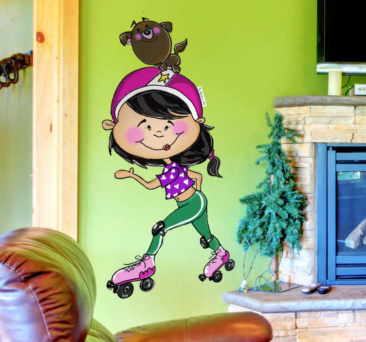 TenStickers. Skater Girl and Dog Wall Sticker. Kids Wall Stickers - Original illustration of a girl in her skates smiling with her cute dog balancing on her head