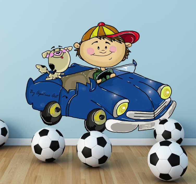 TenVinilo. Vinilo infantil chiquillo conduciendo. Dibujo original en adhesivo de la autora Apatino Art de un niño con gorra en un coche azul acompañado de su mascota.