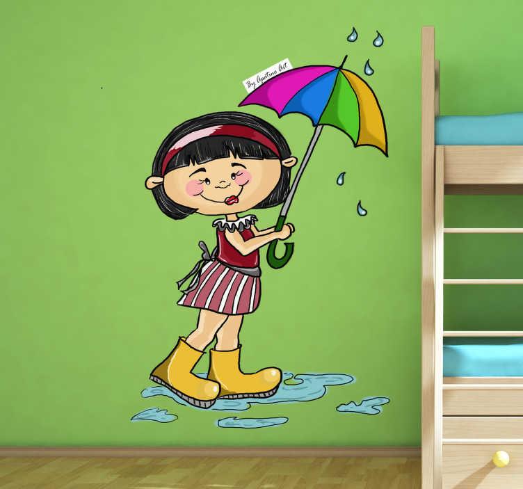 Vinilo infantil niña mona paraguas