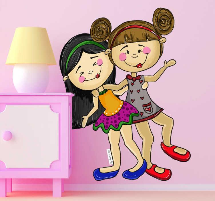 TenVinilo. Vinilo infantil niñas juguetonas. Dibujo de Apatino Art, una autora segoviana de nombre real Ana García. Un vinilo exclusivo para la habitación de tu hija.