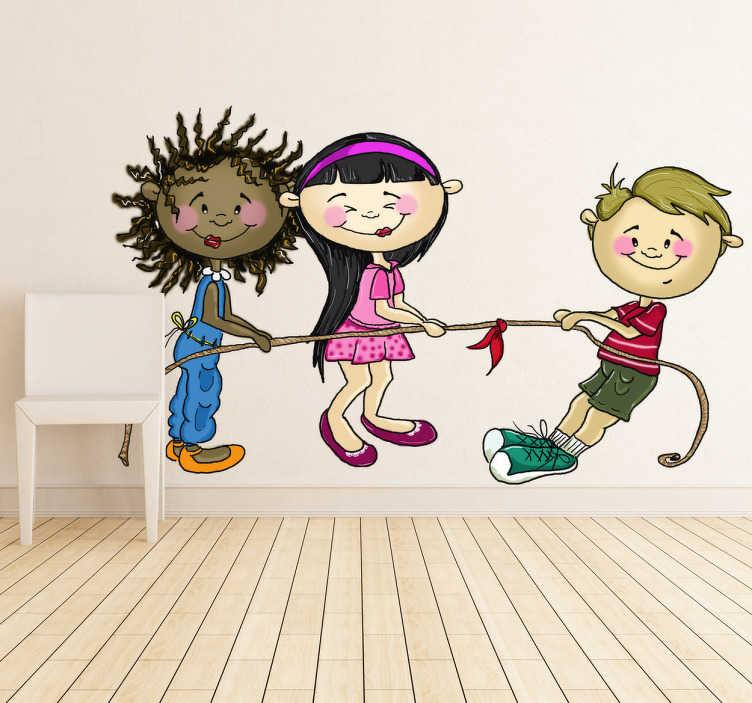 Vinilo infantil niños jugando cuerda