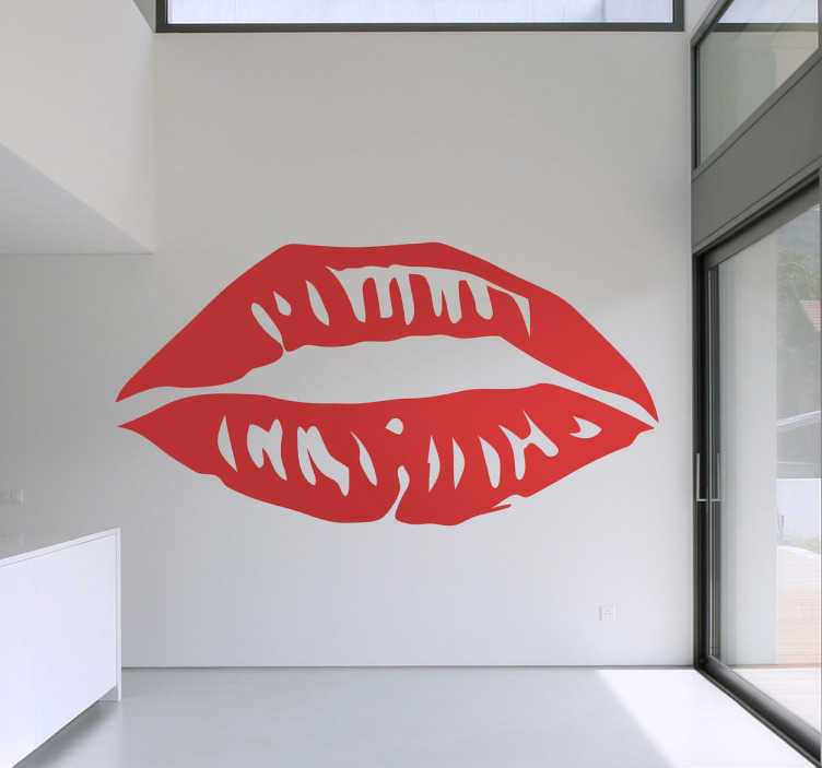 TenStickers. Sticker lippen rood. Deze sticker omtrent rode lippen die uw woning een licht sensueel tintje geven en een hoop sfeer. Leuke wanddecoratie voor uw woning.