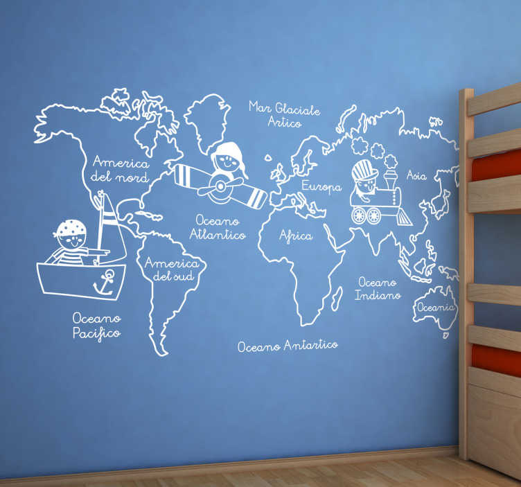 TenStickers. Sticker decorativo giro intorno al mondo. Adesivo murale che raffigura i principali continenti del mondo accompagnati da simpatiche illustrazioni.