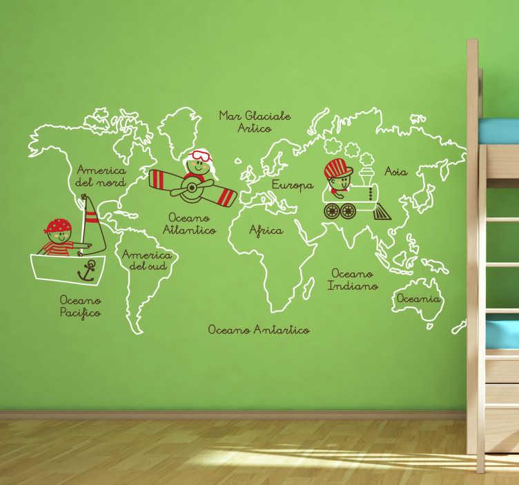 TenStickers. Sticker decorativo oceani e continenti. Adesivo murale che raffigura gli oceani e i principali continenti del mondo accompagnati da simpatiche illustrazioni.
