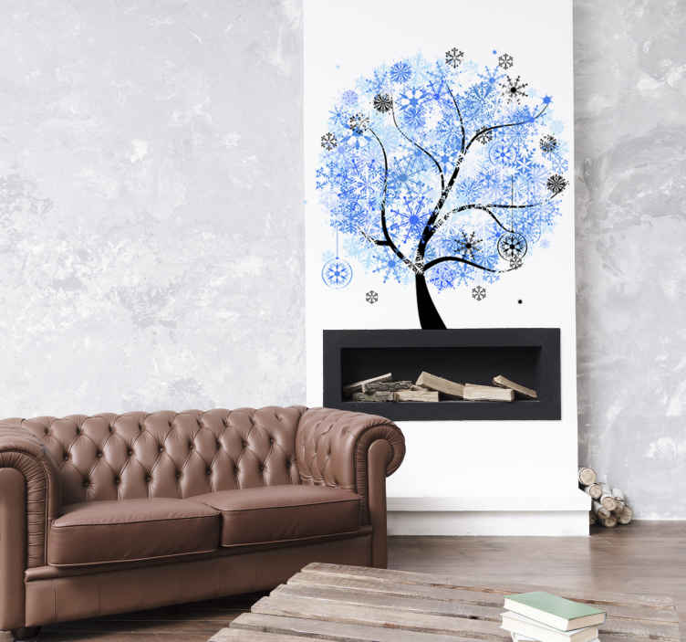 Sticker decorativo albero in inverno