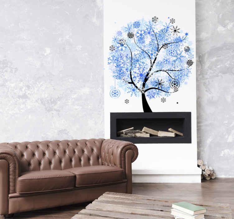 Muursticker Witte Boom.Sticker Boom Winter Tenstickers