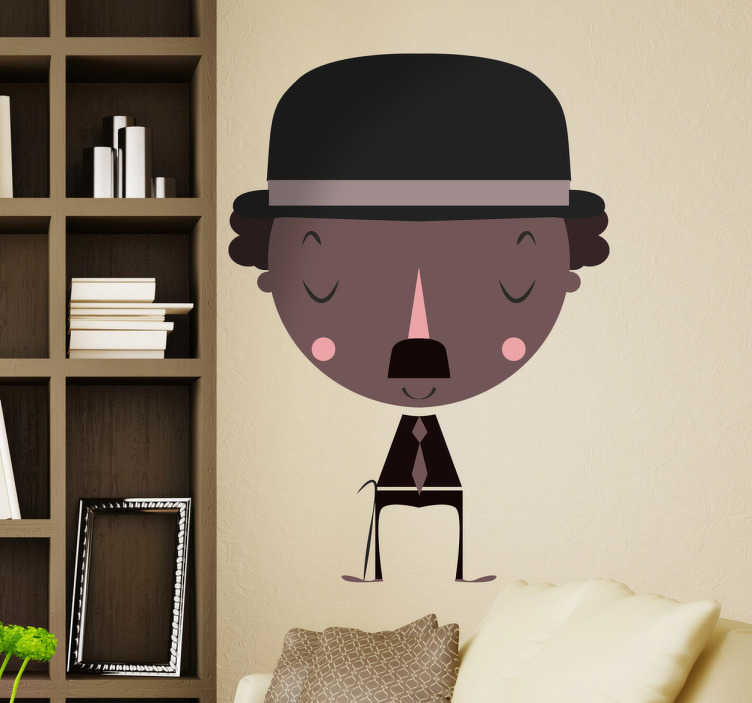 TenStickers. Chaplin Decorative Sticker. This cheerful wall decal of Charlie Chaplin is ideal to decorate your bedroom or living room if you are a big fan of Charlie Chaplin.