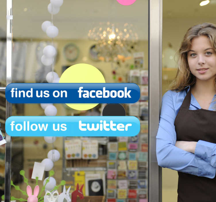 TenStickers. Twitter & Facebook Business Stickers. A great set of set of social media stickers to decorate your shop front window and let all your customers to follow you on social networks!