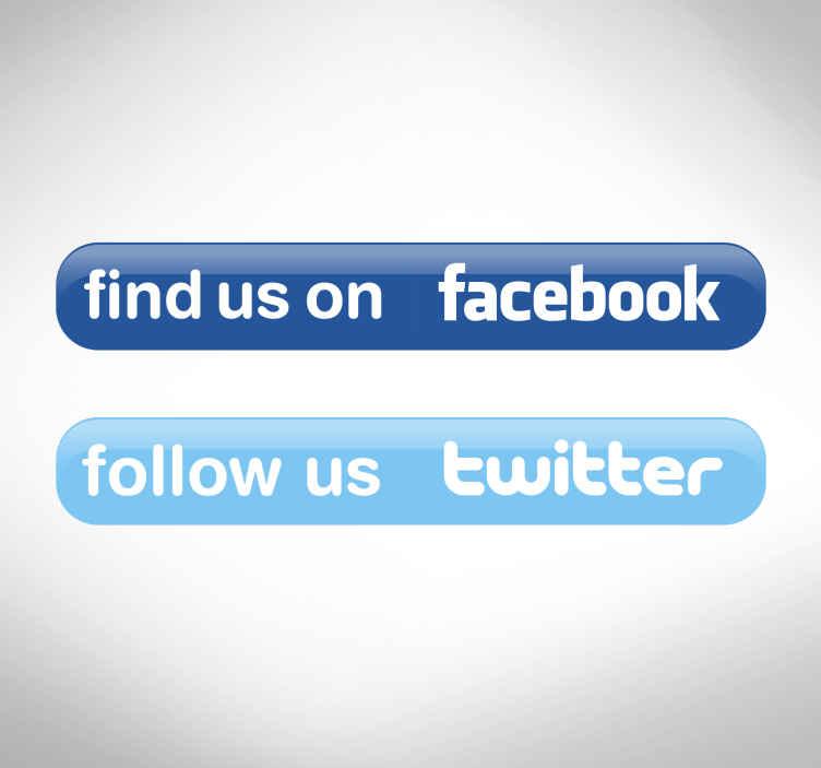 TenStickers. Vinil decorativo twitter e/ou facebook. Vinil decorativo para o seu negócio de forma a informar os clientes que dispõe de redes sociais. Adesivo de parede ou vidro de Twitter e/ou Facebook.