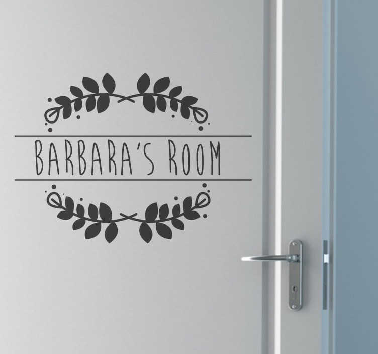 TenVinilo. Vinilo personalizado nombre puerta. Vinilo personalizable con el nombre de tu hijo o hija con una corona de laurel. Estupendo diseño único y exclusivo.