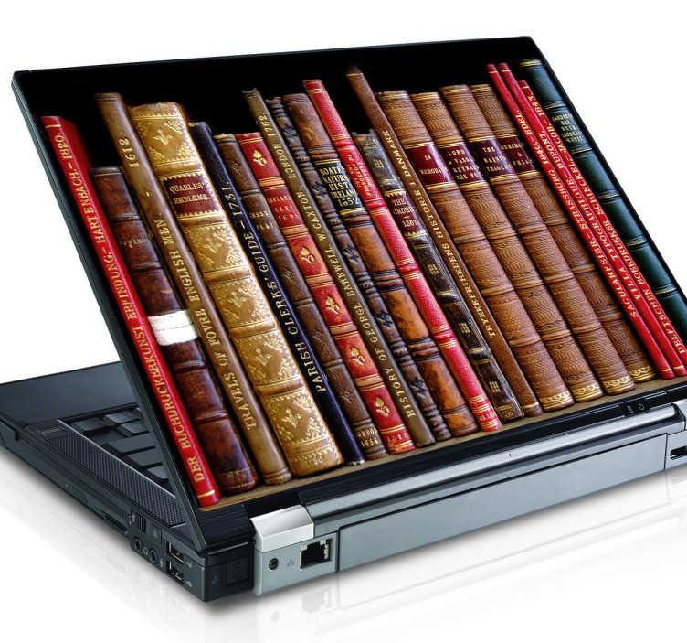 TenStickers. 库书籍笔记本电脑贴纸. 有趣的笔记本电脑皮 - 图书馆书主题贴纸非常适合定制您的笔记本电脑并使其脱颖而出。使用这款书架笔记本电脑皮肤,在您的设备背面放置一个知识世界,非常适合爱好者或阅读和技术。