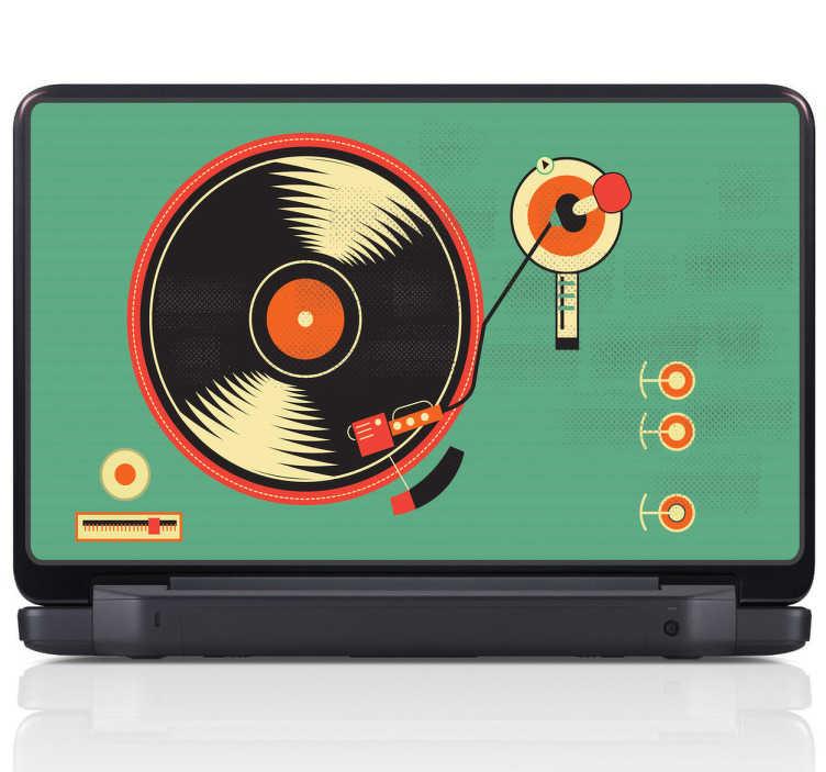 TenStickers. Naklejka płyta winylowa. Naklejka na laptopa przedstawiająca płytę winylową na zielonym tle. Świetnie idące w parze barwy złamią monotonię jednokolorowych sprzętów.