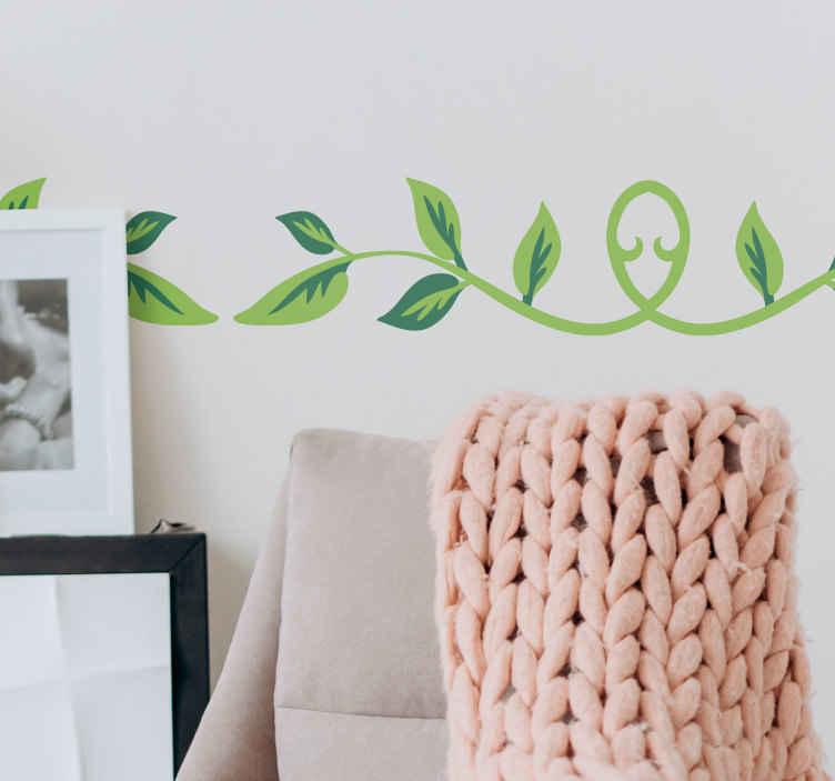 TenStickers. Friso decorativo ramos e folhas verdes. Friso decorativo com ramos de folhas verdes. Integre este adesivo personalizável na decoração da sala ou na decoração dos corredores.