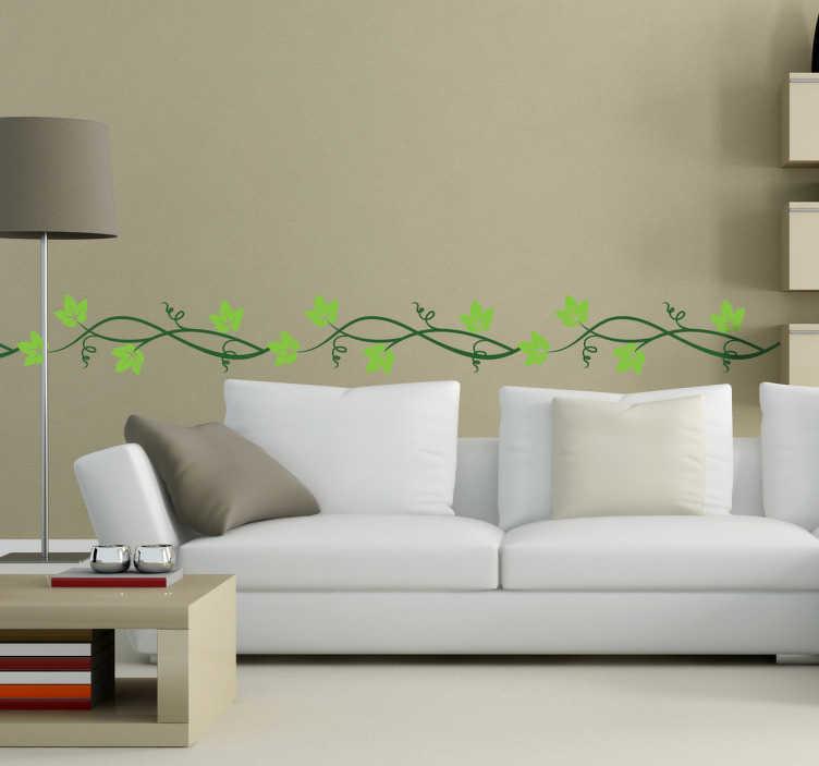 Tenstickers. Grön murgröna kantmuren klistermärke. Ett elegant horisontellt murgröna blommönster från vår kreativa samling av väggplattor för att ge ditt boende ett fantastiskt utseende och atmosfär. Lätt att applicera och ta bort. Finns i olika storlekar.