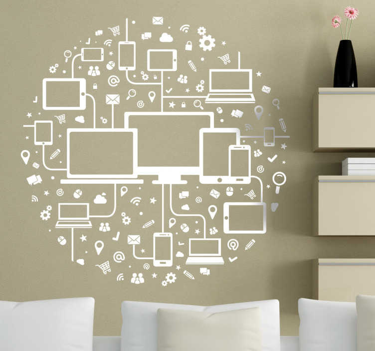TenStickers. Circle Media Icons Sticker. Technology wall sticker in the shape of a circle with tablets, notebooks and PCs, accompanied also by popular icons of the computer world. This modern wall sticker is perfect for adding a professional look to any office or boardroom.