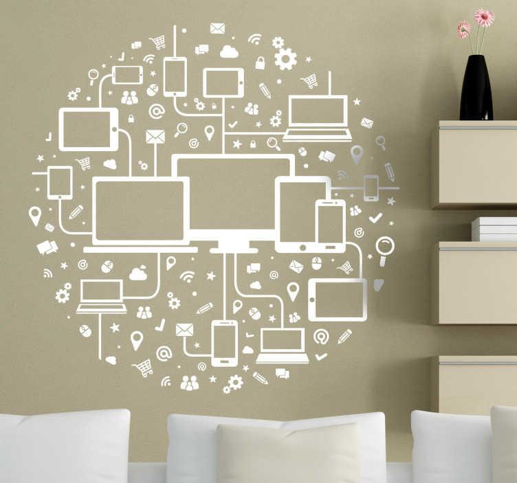 TenStickers. Naklejka komputerowa sieć. Naklejka dekoracyjna składająca się z wielkiej ilość szczegółów, przedstawiająca sieć szeroko rozumianych multimediów.
