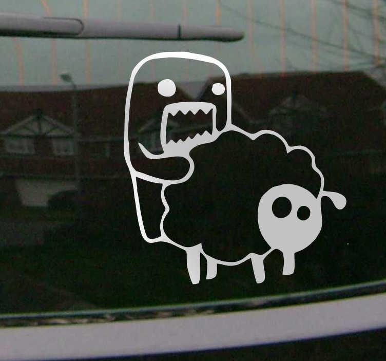 TenVinilo. Adhesivo decorativo oveja y monstruo. Divertido e irreverente vinilo de un extraño ser cometiendo actos impuros con un animal.