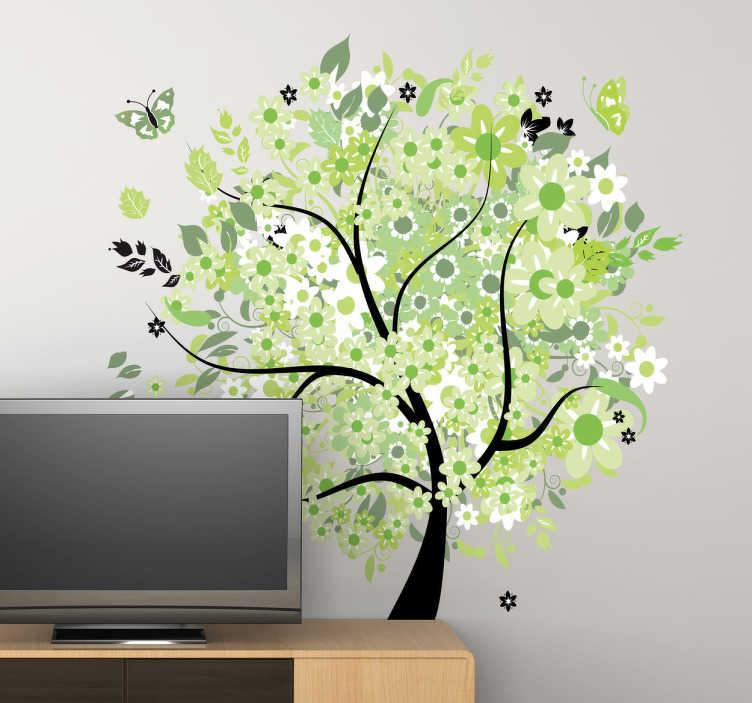 TENSTICKERS. 春の木の装飾ステッカー. 緑と白の花、葉と蝶が混在した咲く春の木の壁のステッカー。あなたのリビングルーム、ベッドルーム、ダイニングルーム、オフィスのための美しいオリジナルの自然の壁のステッカーです。