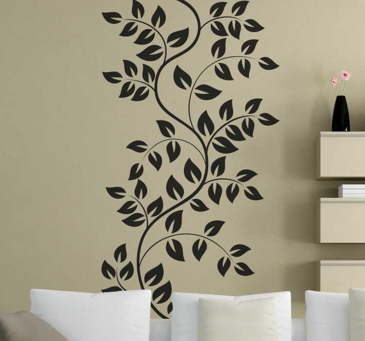 TenStickers. Sticker branche feuilles. Personnalisez les murs de votre maison de façon originale avec cet élégant sticker monochrome d'une plante grimpante. Une illustration unique pour décorer votre intérieur.