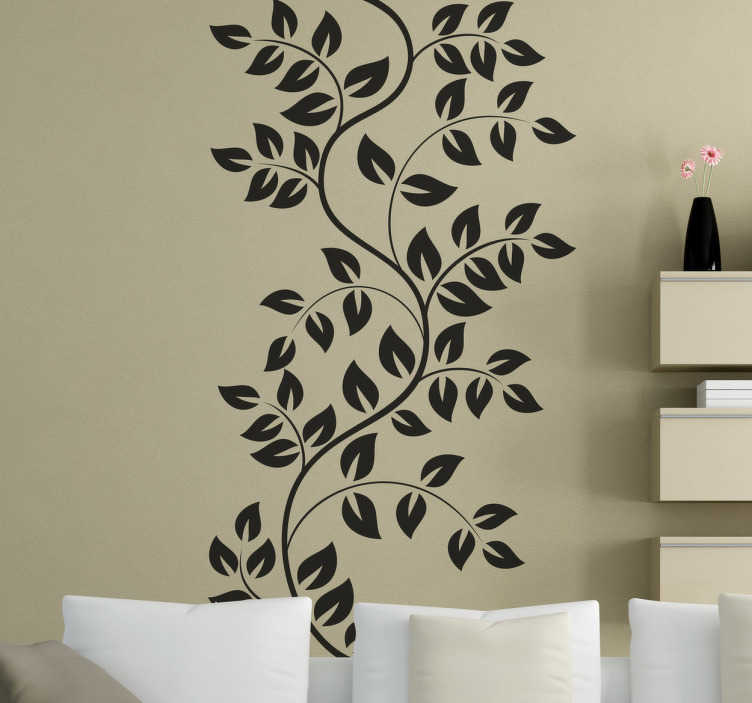 TenStickers. 나뭇 가지와 나뭇잎 벽 데칼. 꽃과 식물 벽 스티커 - 집을 꾸미기 위해 사용할 수있는 꽃 무늬 데칼. 디자인은 우아하고 자연스러운 아름다움을 장소에 추가합니다.