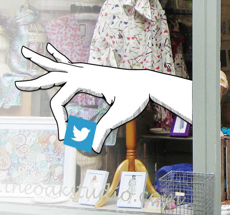 TenStickers. Twitter Hand Logo Sticker. This vinyl decal shows a hand holding the Twitter logo. This allows you to decorate your shop in an original way and show that you're using Twitter.