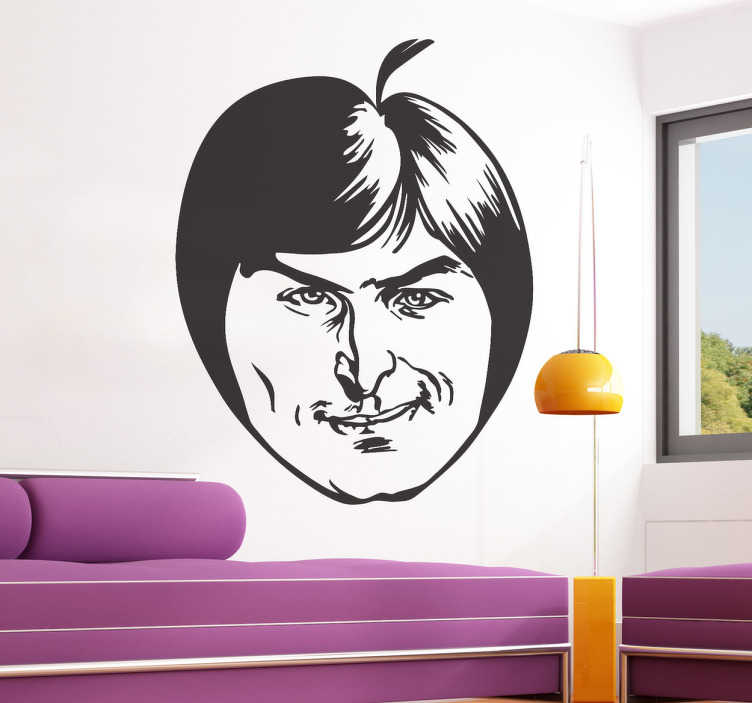TenStickers. Steve Jobs Apple Sticker. An apple merged with the face of the company's found Steve Jobs. Perfect for any technology fans.