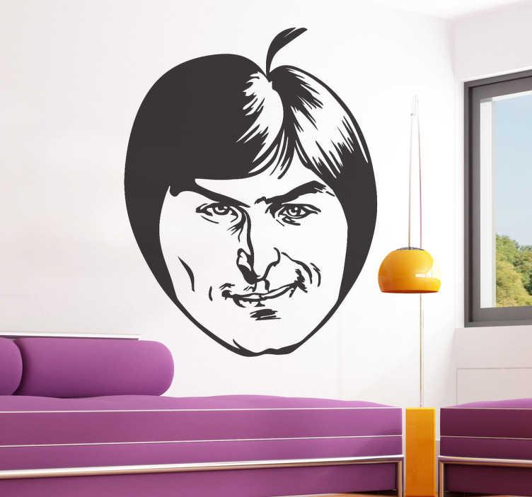 TenStickers. Sticker pomme Steve Jobs. Adepte des produits Apple ? Le logo à la pomme se mélange avec le portrait de son fondateur sur cet original sticker pour personnaliser votre décoration.