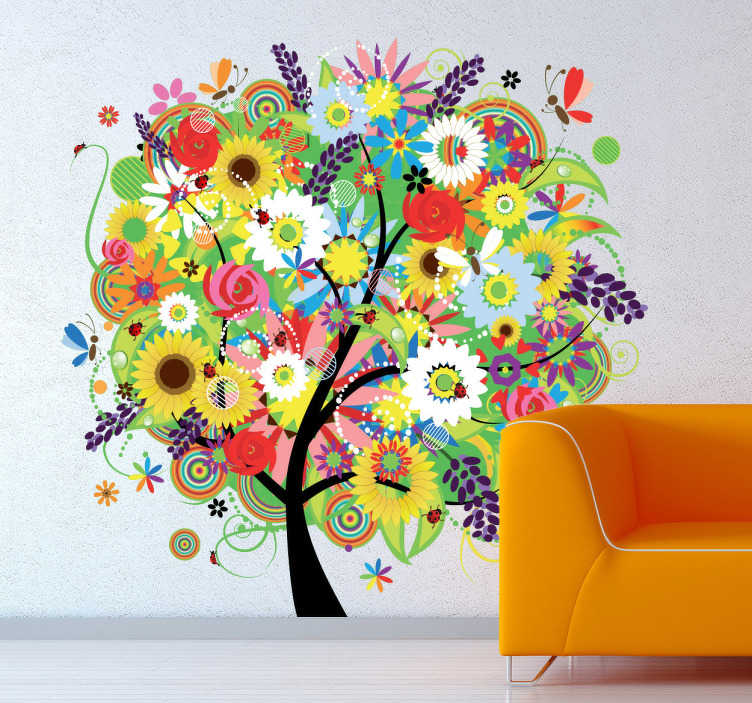 TenStickers. Summer Flowers Wall Sticker. Room Stickers - Brighten up any area in your home with this vibrant and colourful floral design.