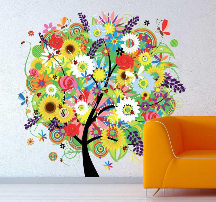 TenVinilo. Vinilo decorativo árbol verano. Plenitud y colorido floral. La naturaleza en su máximo esplendor recreada en un adhesivo de un árbol pensado para dar alegría a la decoración de tu vivienda.