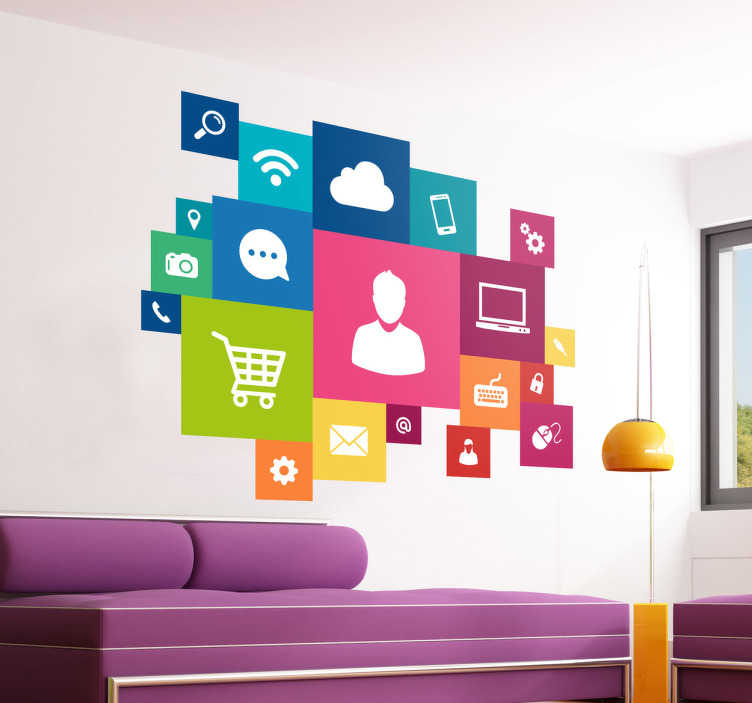 TenVinilo. Adhesivo multicolor multimedia. Vinilo decorativo con una nube de iconos informáticos inspirados en la nueva estética de Windows. Ideal para decorar tu negocio, des de la pared al escaparate.
