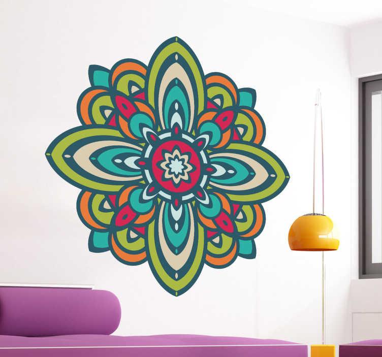 TenStickers. Naklejka kolorowa mandala. Efektowna dekoracja ścienna prezentująca piękną, kolorową mandalę. Połączenie różnych barw, różu, zieleni i koloru pomarańczowego wyśmienicie ożywi każdą pustą przestrzeń.