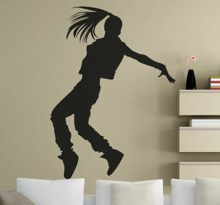 TenStickers. Silhouette Girl Dancer Wall Sticker. Silhouette wall sticker of a female dancer with long hair street dancing, from our collection of dance wall stickers. This exciting and versatile decal is perfect for adding a touch of personality and excitement to any young dancer's bedroom or studio!