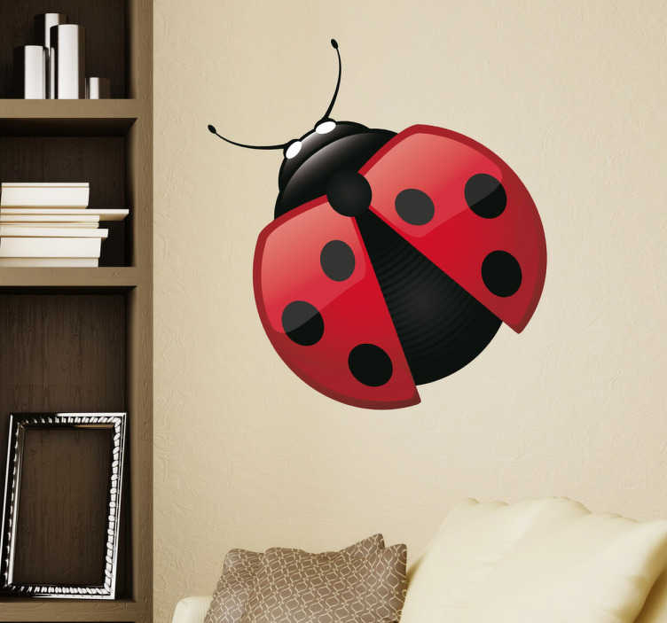 TenStickers. Ladybug Decal. Decals - Vector illustration of a vibrant ladybug. Ideal for all ages. Suitable for decorating walls, furniture, appliances, devices and more.