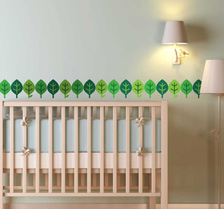 TenStickers. Green Leaves Wall Borders Teal Sticker. A simple horizontal green leaves pattern. Brilliant design from our collection of teal wall stickers to make sure your room looks splendid!
