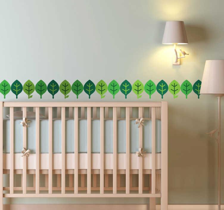 TenStickers. Verde folhas parede beiras cerceta autocolante. Um simples padrão horizontal de folhas verdes. produtobrilhante da nossa coleção de Autocolantes decorativos azul-petróleo para garantir que seu quarto fique esplêndido!