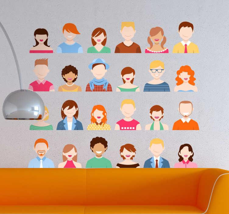 TenStickers. 人们收藏贴纸. 墙上的贴花,四排显示很多不同的人的图标。