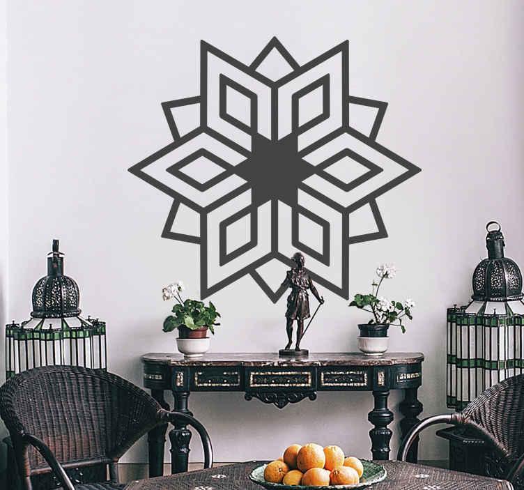 TenStickers. Vinil decorativo estrela étnica. Vinil decorativo de uma ilustração de um caleidoscópio em forma de estrela estilo étnica. Adesivo de parede para decoração de interiores.