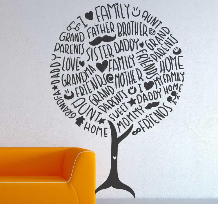 TENSTICKERS. ファミリーホームツリーウォールステッカー. 私たちの家族の壁アートステッカーコレクションから家族や家に関連するさまざまな言葉で構成された木のモノクロイラスト。