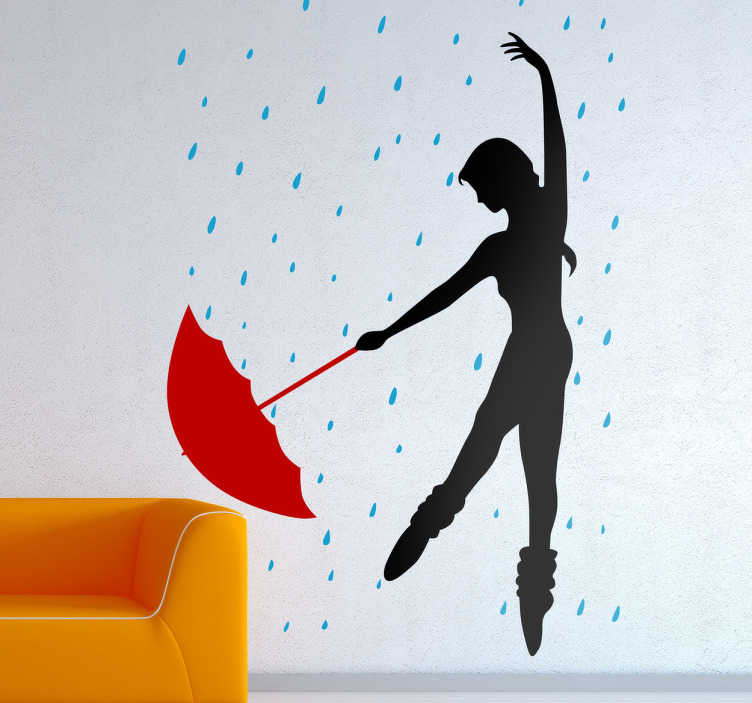 TenStickers. Dancing In The Rain Girl Wall Sticker. Wall Stickers - Outline illustration of a ballerina dancer with long hair dancing in the rain with a red umbrella.
