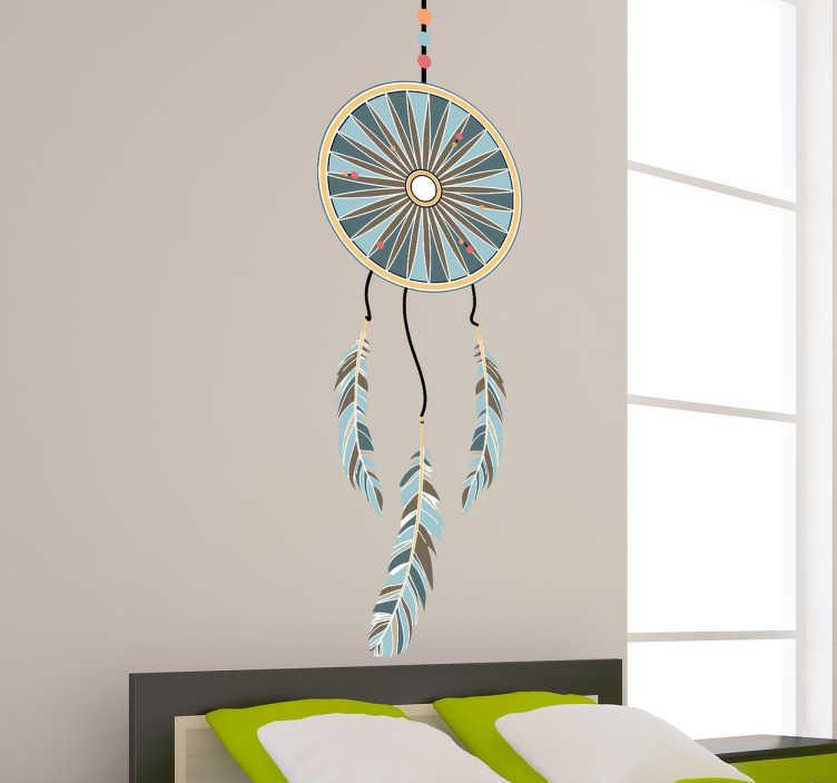 TenStickers. Vinil caça sonhos. Vinil decorativo ilustrando um espanta-espiritos colorido e perfeito para a decoração de interiores do seu quarto, sala, cozinha...