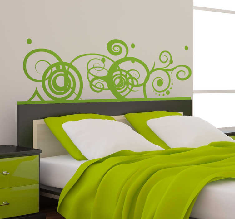 TenStickers. 추상 장식 머리판 스티커. 침대 위에 놓기에 이상적인 소용돌이와 선의 추상 패턴이있는 아름다운 스티커.