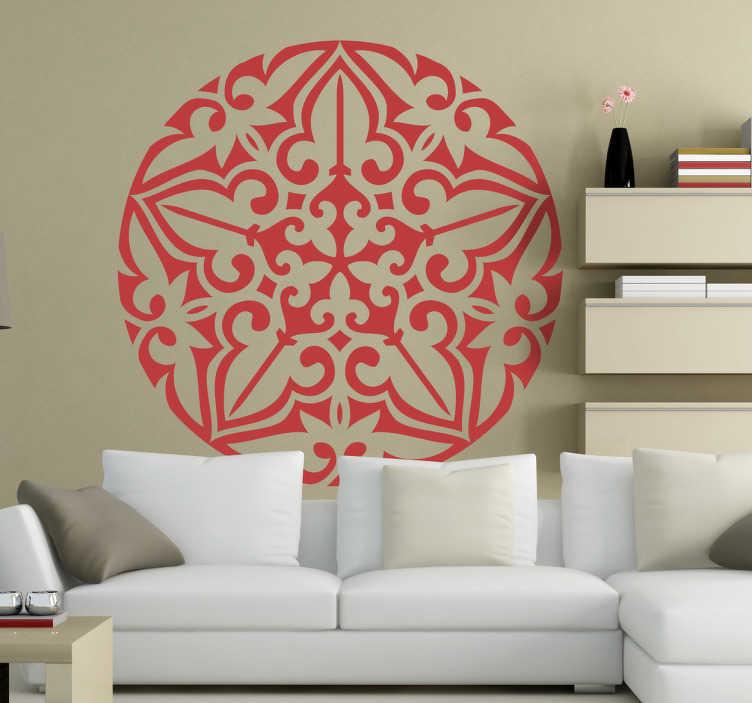 TenStickers. Naklejka okrągła mandala. Naklejka dekoracyjna przedstawiająca symetryczny ornament.