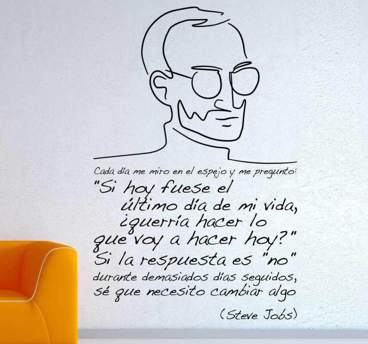 TenVinilo. Vinilo decorativo cita Steve Jobs. Famosas palabras pronunciadas por el fundador de Apple. Adhesivo original para los fans de esta figura del mundo de la tecnología.