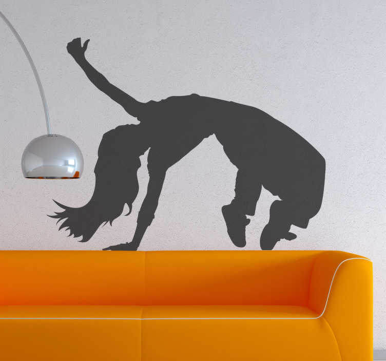 TenStickers. Hip Hop Dancer Wall Sticker. Silhouette wall sticker of a hip hop dancer with long hair doing an impressive acrobatic dance move, from our collection of dance wall stickers. This awesome hip hop wall sticker is perfect for decorating any teen room or dance studio to create the ideal atmosphere for dancing.