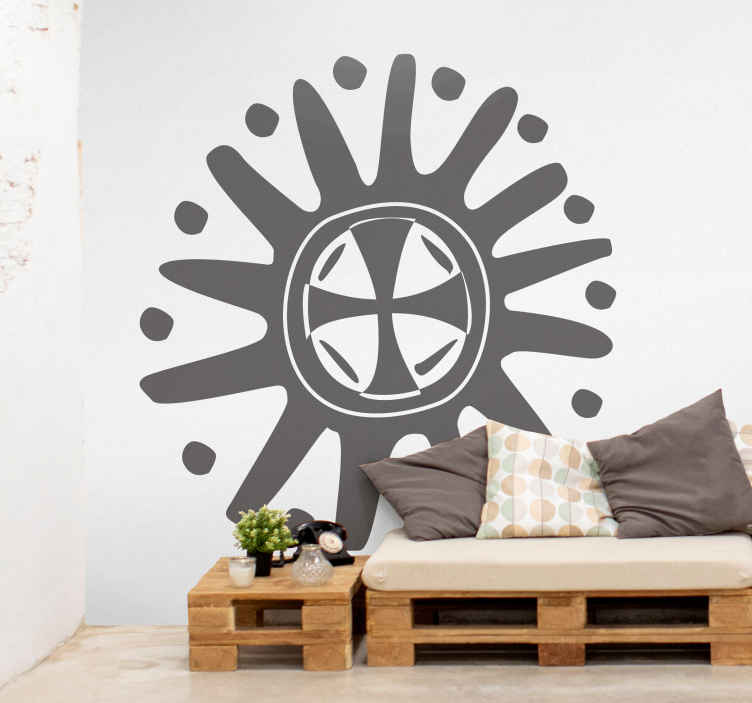 TenStickers. Naklejka na ścianę kalejdoskop słońce. Naklejka na ścianę przedstawiająca kalejdoskop z centralnym krzyżem oraz wieloma odnogami oddzielonymi od siebie kropkami.