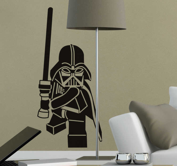 TenStickers. Naklejka na ścianę postać Vader. Naklejka na ścianę, która zadowoli wszystkich fanów filmów Gwiezdne Wojny, Dartha Vadera i klocków Lego. Idealna ozdoba dla dzieci!